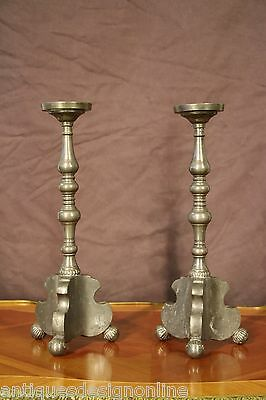 Pair heavy antique Baroque PEWTER CANDLESTICKS Scandinavian rare candelabra lamp