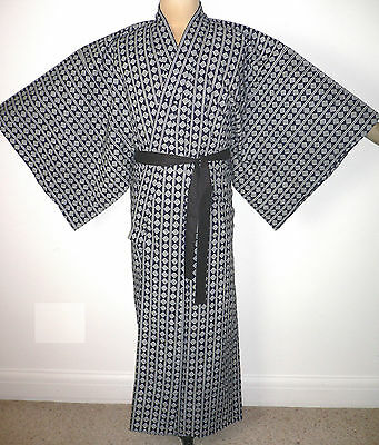 Rare Men's Authentic Larger Japanese Cotton Vintage Yukata Kimono Classic Design