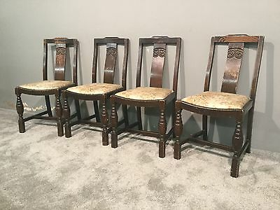 Vintage Solid Oak Set Of 4 Four Kitchen Dining Chairs