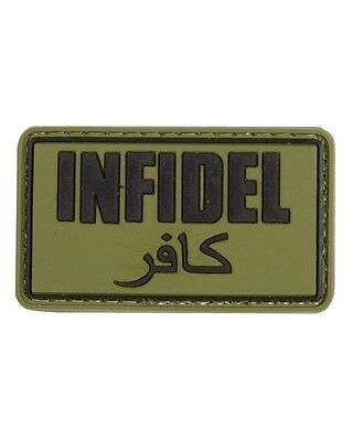 """Military Morale Rubber Patch """"INFIDEL"""" OLIVE - Velcro Back - Airsoft - New"""