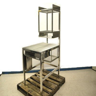 Scientific 4-Tier Stainless Steel Clean Room Wire Workstation w/ Keyboard Tray