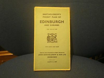 Bartholomew's Pocket Plan EDINBURGH & Suburbs Street MAP Scotland Scottish Cloth