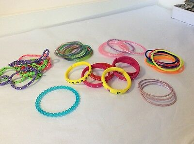 Selection Of 46 Bangles / Bracelets / Cord Wrist Bands - Ideal For Party Bags