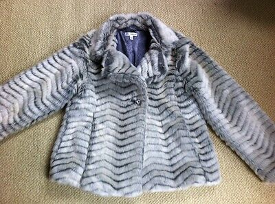 Girls M&S Autograph Faux Fur Jacket Age 11-12 Yrs V Gd Condition
