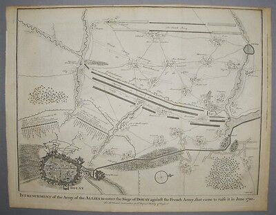 18th Century European Map Military Encounter between French & Anglo-Dutch 1710