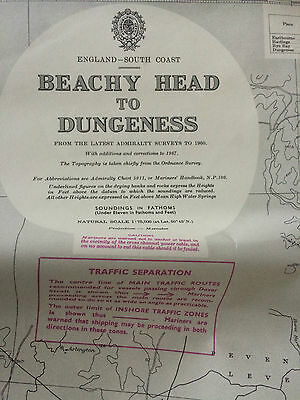 "Vintage 1967 Admiralty Chart Beachy Head to Dungeness. 26"" x 40"" Chart 536"