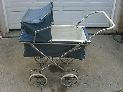 Vintage Blue Baby Buggy Carriage
