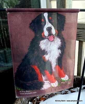 Bernese Mountain Dog MERLIN BMD 12 by 18 GARDEN FLAG no pole by Amy Bolin BERNER