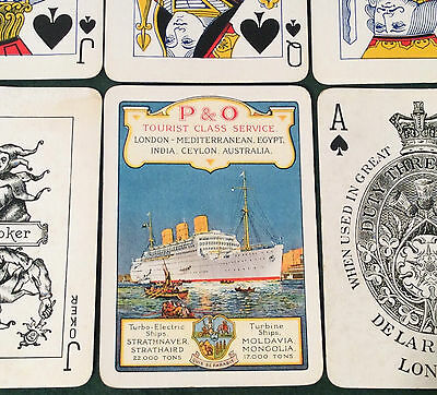 Antique De La Rue P&o Tourist Class Steamship Shipping Liner Wide Playing Cards