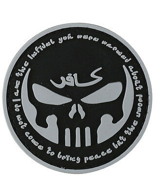 "Military Morale 3D Rubber / PVC Patch ""PUNISHER - INFIDEL"" Velcro - Airsoft"