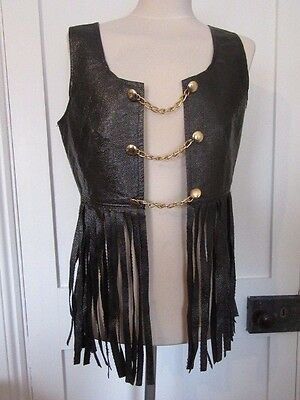 Vintage 1970's Bredo  Fringed Space Age Waistcoat Gold Tone Buttons & Chain Link