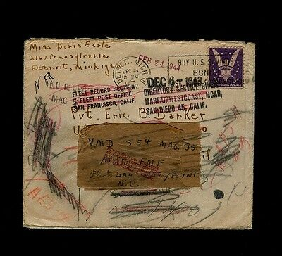 DEC 1942 Cover Forwared for ONE YEAR Marine Photographic Squadron 354 (VMD-354)