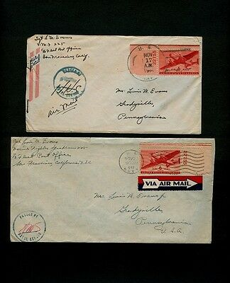 TWO Marine Fighter Attack Squadron VMF 225 Covers - 11/17/44 and 11/23/43 NICE!
