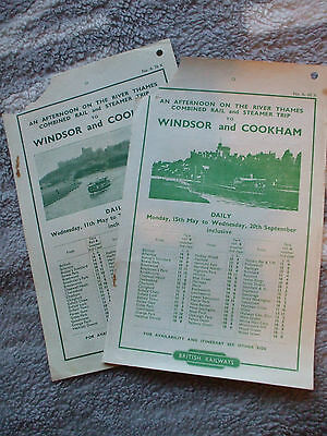 2 BR handbills for River and train excursions to Windsor and Cookham, 1949