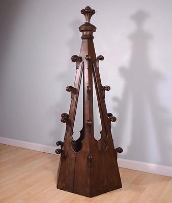 French Antique Gothic Revival Spire/Copula in Solid Oak Wood