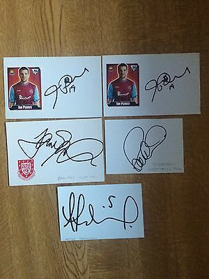 Collection Of 5 West Ham United Hand Signed Autographs Index Cards