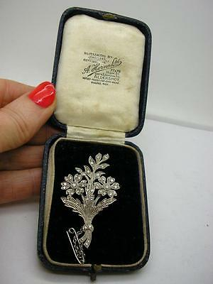 Vintage 18ct White Gold Natural Diamond Flower Spray Brooch Pin