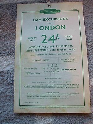 A BR handbill for day excursions to London from Norwich Thorpe, 1953.