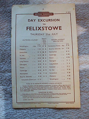 A BR handbill for a day excursion to Felixstowe, 31st July 1952.