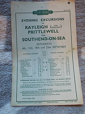 A BR handbill Evening Excursions to Rayleigh, Prittlewell and Southend on Sea.