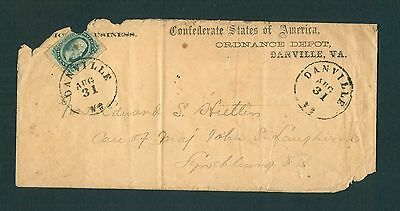 """DANVILLE VA. AUG 31"" w/#11 ORDNANCE DEPOT *UNLISTED* Imprint to Maj. Langhorne"