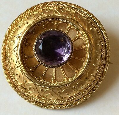 Victorian Antique 1864 9ct Gold Amethyst Mourning Brooch 18.7 Grams Woven Hair