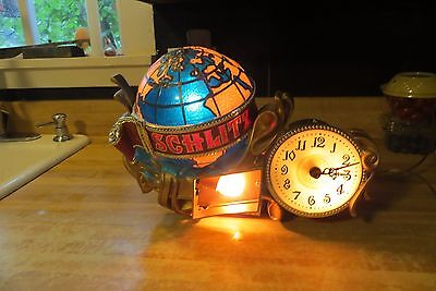 vtg Schlitz lighted in motion spinning globe working bar sign and working clock