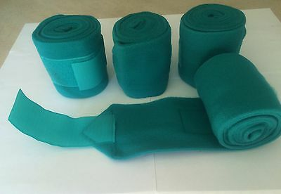 """PONY Green Teal Polo Wraps Set of 4 Shock Resistant 3 1/2"""" X 5ft Equine Textiles"""