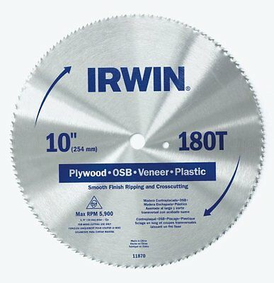 IRWIN Tools Classic Series Steel Table / Miter Circular Saw Blade, 10-Inch 180T