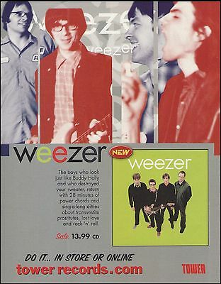 Weezer 2001 The Green Album ad 8 x 11 Tower Records advertisement print