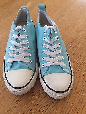Ladies Turquoise Lace Up Pumps Size 5 Great Condition