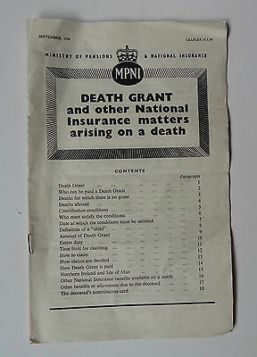 "September 1956 Ministry of Pensions & National Insurance ""Death Grant"" leaflet"