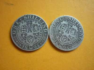 """Gt Britain - Collectable 1894 & 1895 """"old Head"""" Victorian Silver Shillings"""