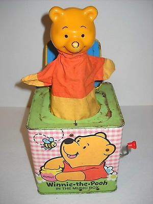 Vintage Tin Winnie The Pooh In The Music Box