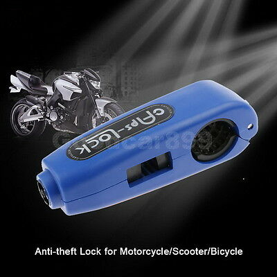 Motorcycle Scooter Handlebar Brake Lever Caps Lock Anti Theft Security Lock Blue