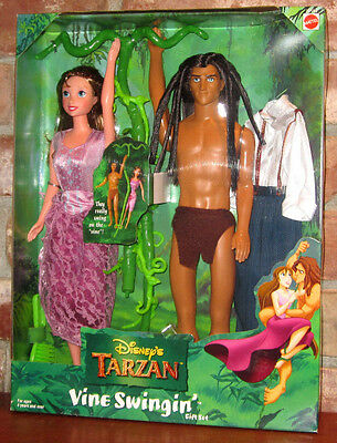 RARE Disney Vine Swinging TARZAN JANE doll gift set figures Edgar Rice Burroughs