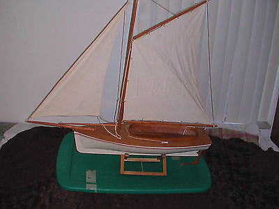 "HUGE 36"" LONG Wood Wooden Model Boat Yacht Sailboat Ship with Real Cloth Mast"