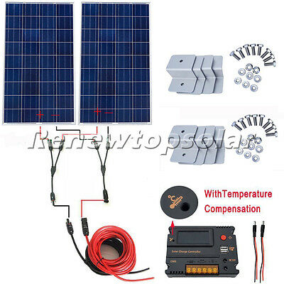 200W 2x100W Off Grid Solar Panel Kit with Temperature Controller for 12V Home