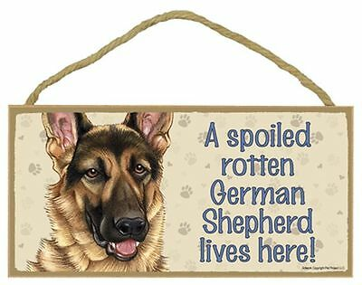 Spoiled Rotten German Shepherd Dog 5 x 10 Wood SIGN Plaque USA Made