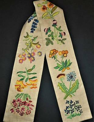 Wild Flower Floral Vtg Finished Completed Wall Art Bell Pull Crewel Embroidery