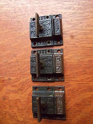 "Three Antique Vintage Ornate Victorian Hoosier Cabinet Latches 1885 ""Windsor"""
