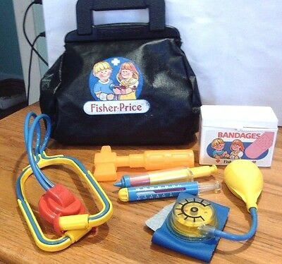 Vintage Fisher Price Medical Doctor Bag With Accessories # 2010  1986