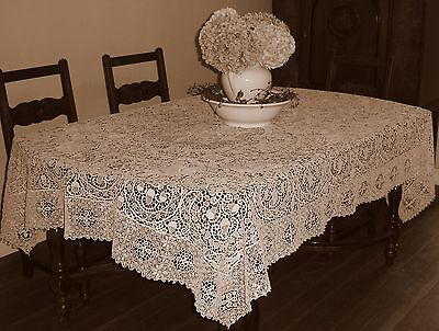 Vintage Reticella Point De Venise All Needlelace Italian Banquet Tablecloth