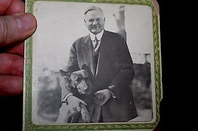 Cabinet Photo of President Hoover with Belgian Sheppard Dog King Tut 1920's