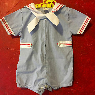 Nautical Baby Suit Size 24 Months, Vintage Sailor Romper for Boys in Blue  White