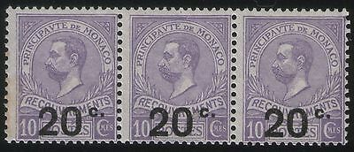 MONACO - 1919 10c POSTAGE DUE - STRIP OF 3 SURCHARGED 20c - FINE UNMOUNTED MINT