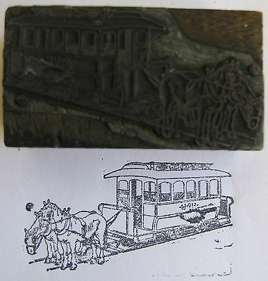 Antique Letterpress Printing Horse Trolly Advertisement Printer Block Stamp