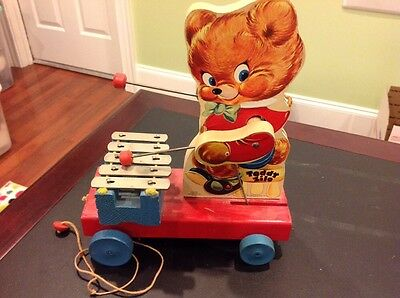 Fisher Price Vintage Pull Toy Teddy Zilo #777