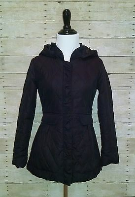 EUC Total Girl Black Quilt Fitted Coat Jacket with Hood Size XL 14/16