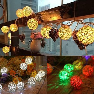 3.2M LED Rattan Ball String Lighting Fairy Xmas Wedding Party Curtain Light Lamp